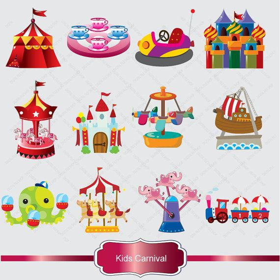 Kids Carnival Clipart Set.