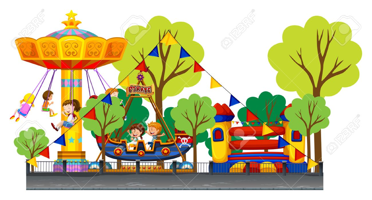 Different rides at the carnival illustration.