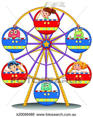 A carnival ride with monsters and kids Clip Art.