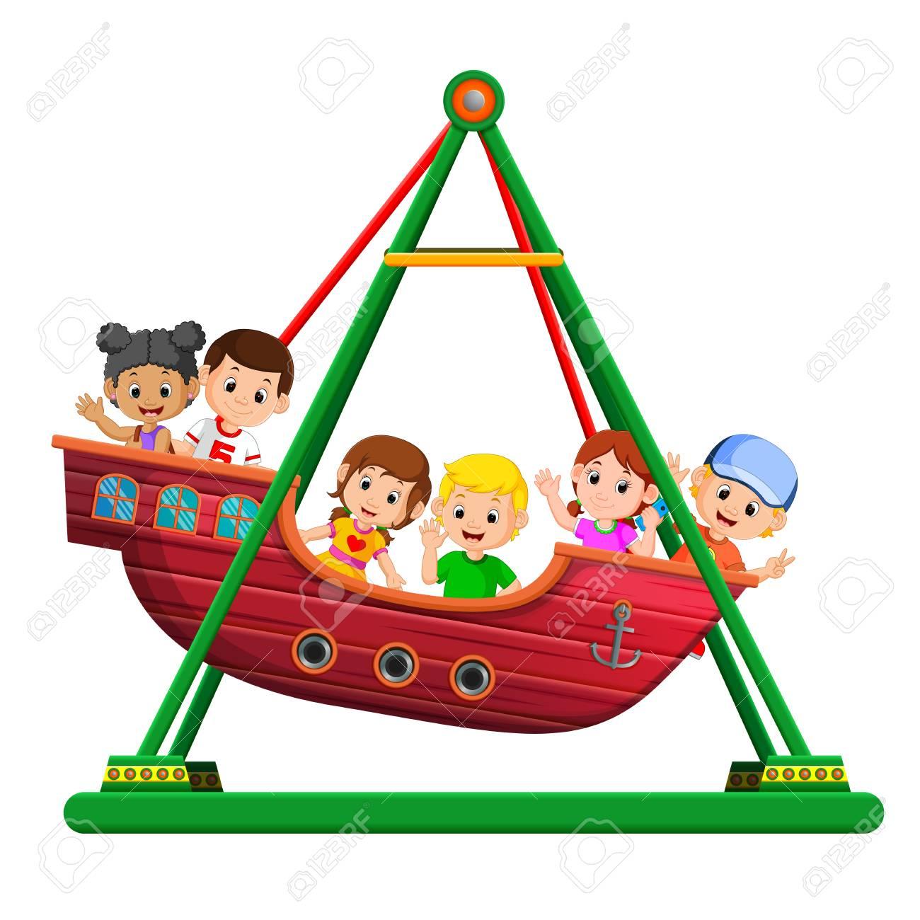 Children on viking ride at carnival.