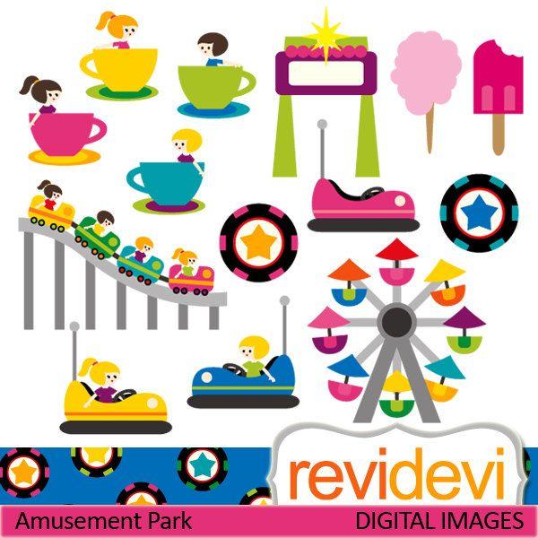 Amusement Park Rides Clip art. Roller coaster, boom boom car, ferris.