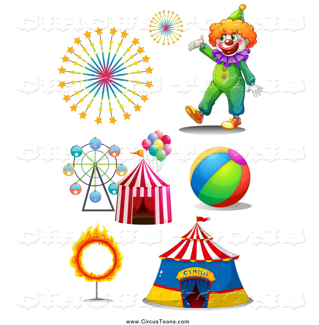 Circus Clipart of a Clown, Fireworks, Carnival Rides and Big Top by.