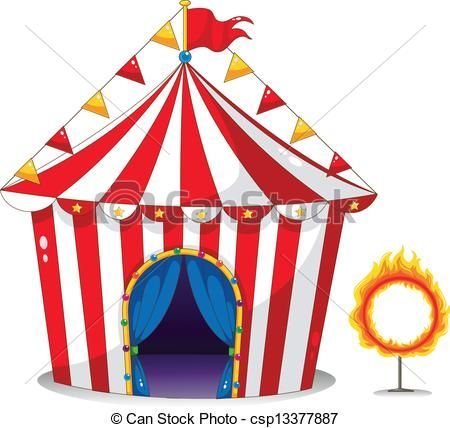Vector of A circus tent beside a ring of fire.