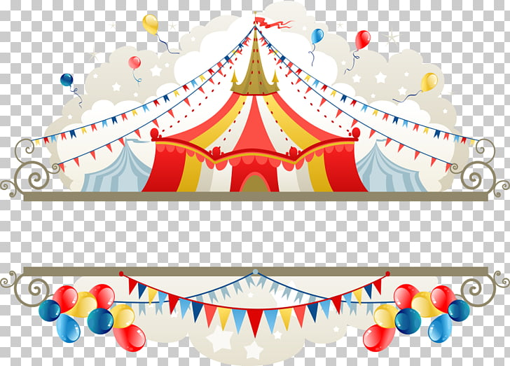 Tent Circus , tents and pull the flag, carnival tent with balloons.