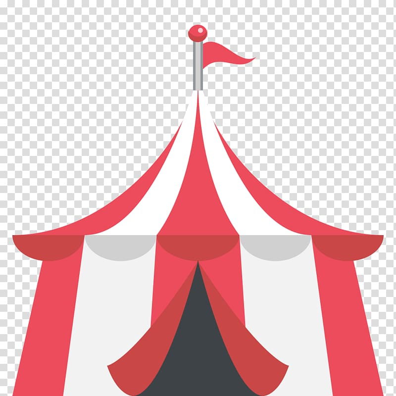 Red and white carnival illustration, Emoji Tent Circus Text.