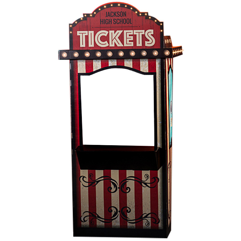 Details about CARNIVAL TICKET BOOTH Personalized Lighted CARDBOARD CUTOUT  Standee Stand.