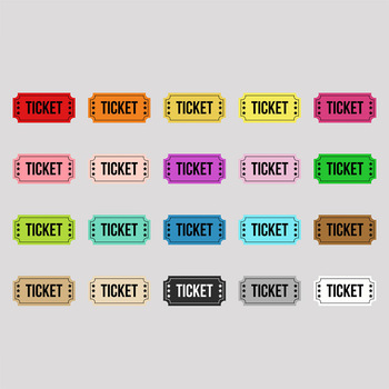 Movie Ticket Clipart, Circus Ticket, Carnival Ticket, Theater Ticket.