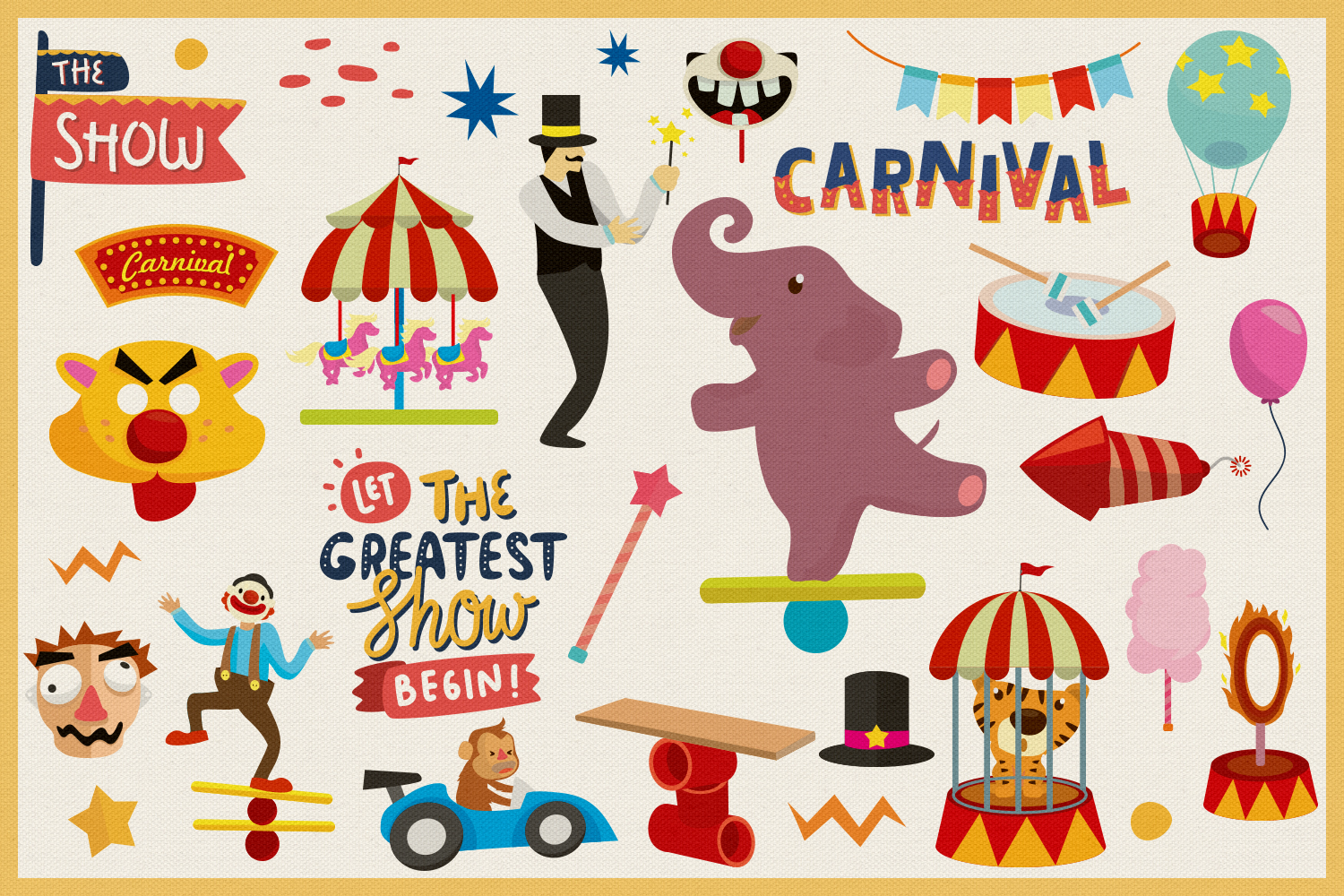 80 Magical Carnival Vector Clipart & Seamless Patterns.