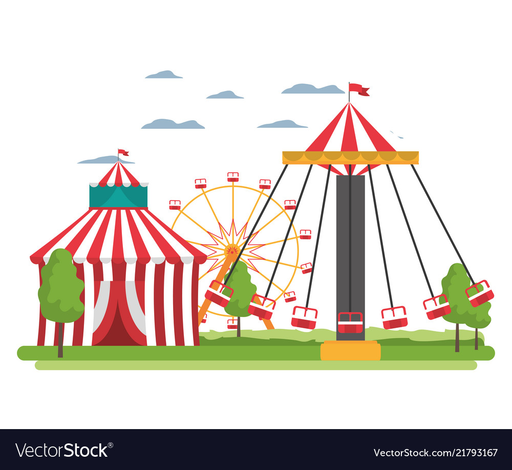 Circus and mechanical swing chair carnival.