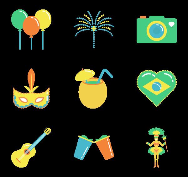 Brazil carnival Icons.
