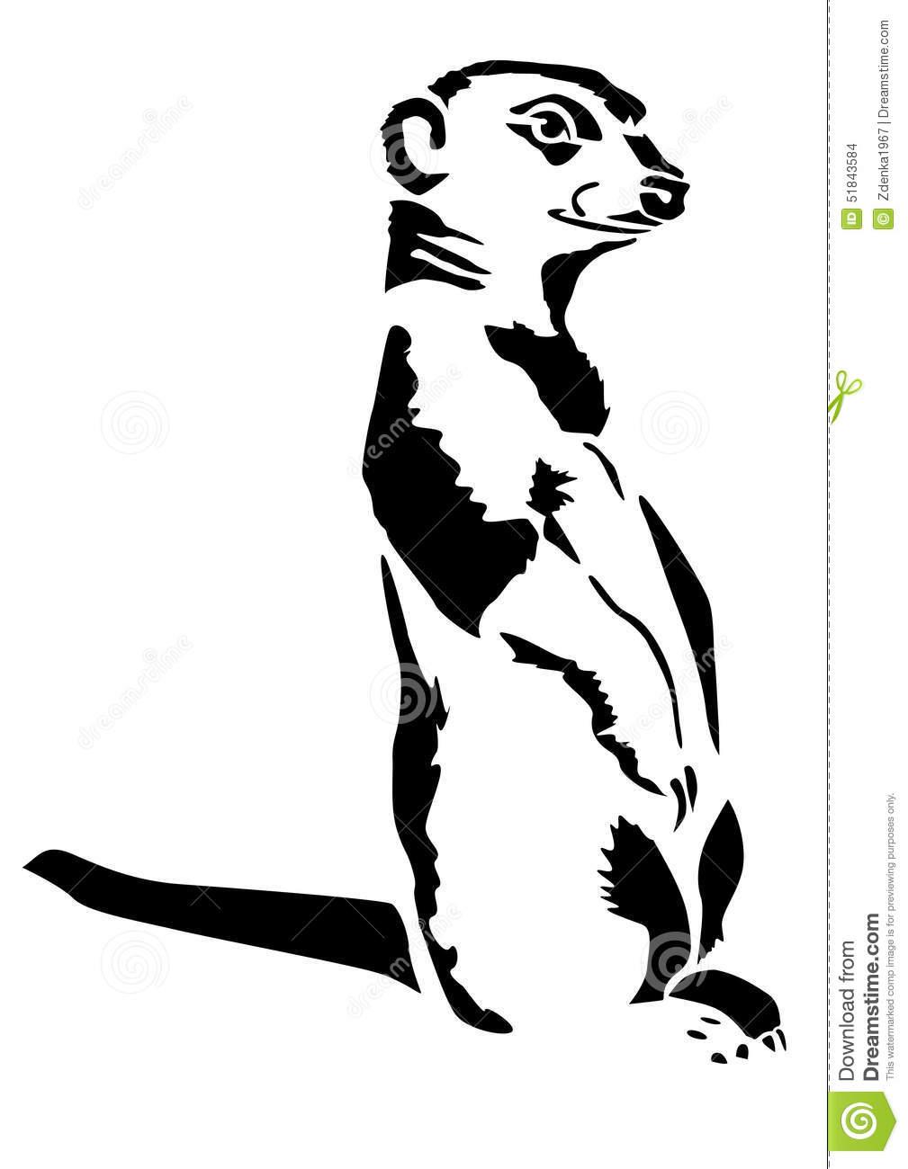 Beast Meerkat Stands Carnivora Stock Illustration.