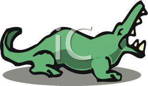 Alligator with an Open Mouth Clipart Image.