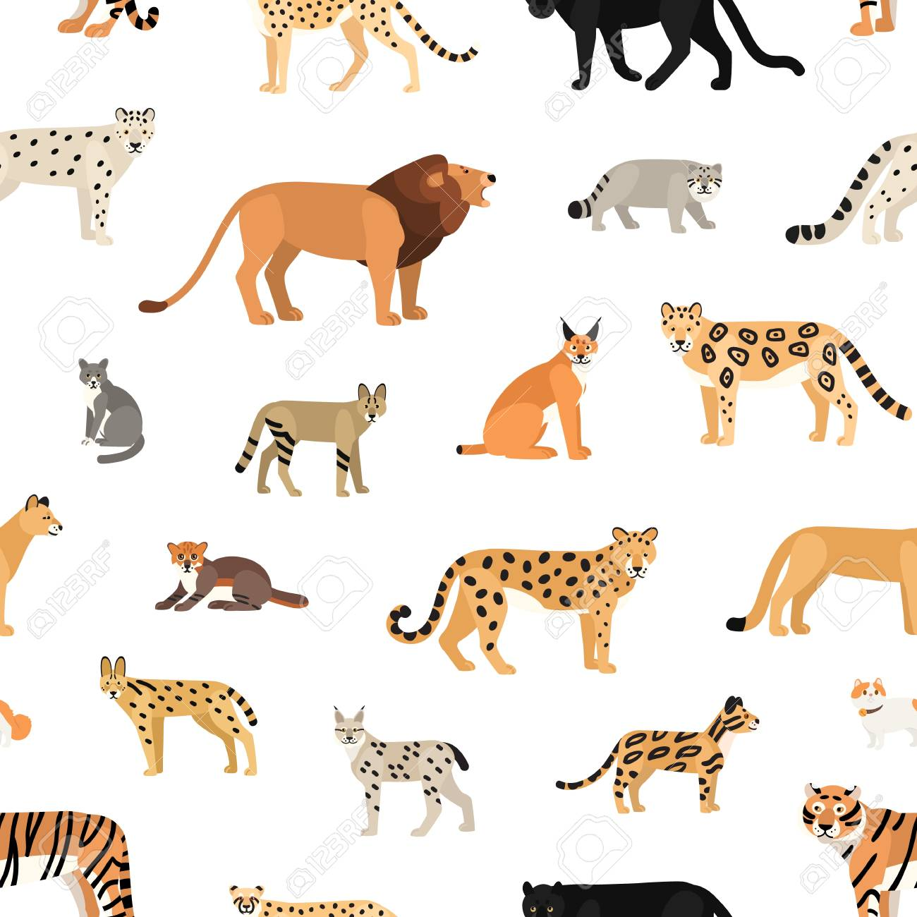 Seamless pattern with wild cats on white background. Backdrop...