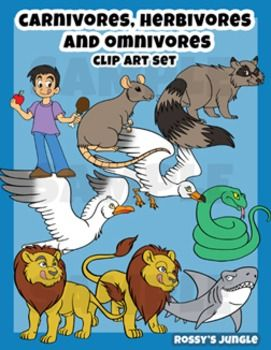 Carnivore Herbivore and Omnivore animals clip art set.