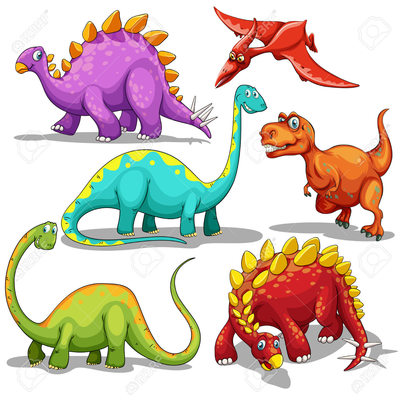 Different Type Of Dinosaurs Illustration Royalty Free Cliparts.