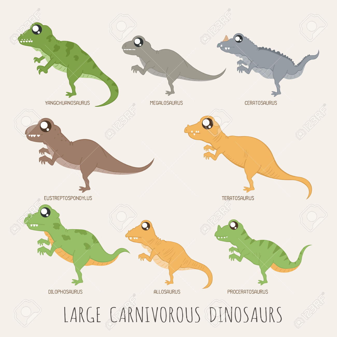 Set Of Large Carnivorous Dinosaurs Royalty Free Cliparts, Vectors.