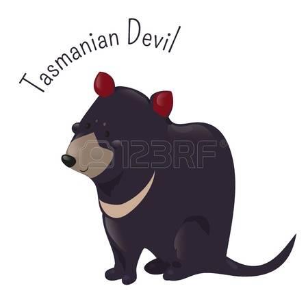 Cartoon Tasmanian Devil Isolated On White. Carnivorous Marsupial.