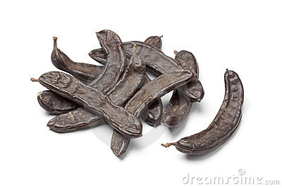 Carob Pods / St. John's Bread With Seeds, Close Up, Isolated On.