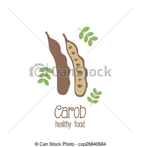 Vector of Carob pods. Vector illustration.