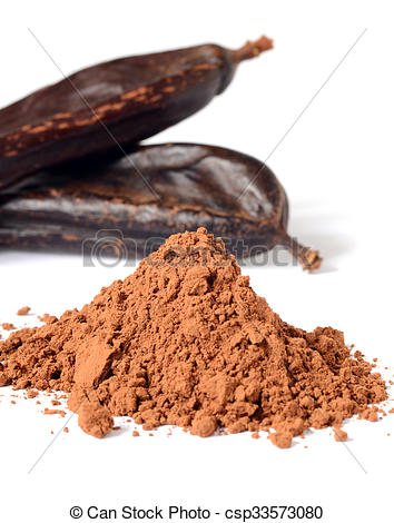 Pictures of Ripe carob pods and carob powder, can be used as a.