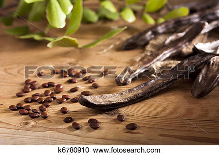 Stock Photography of Carob Pods and Seeds k6780910.