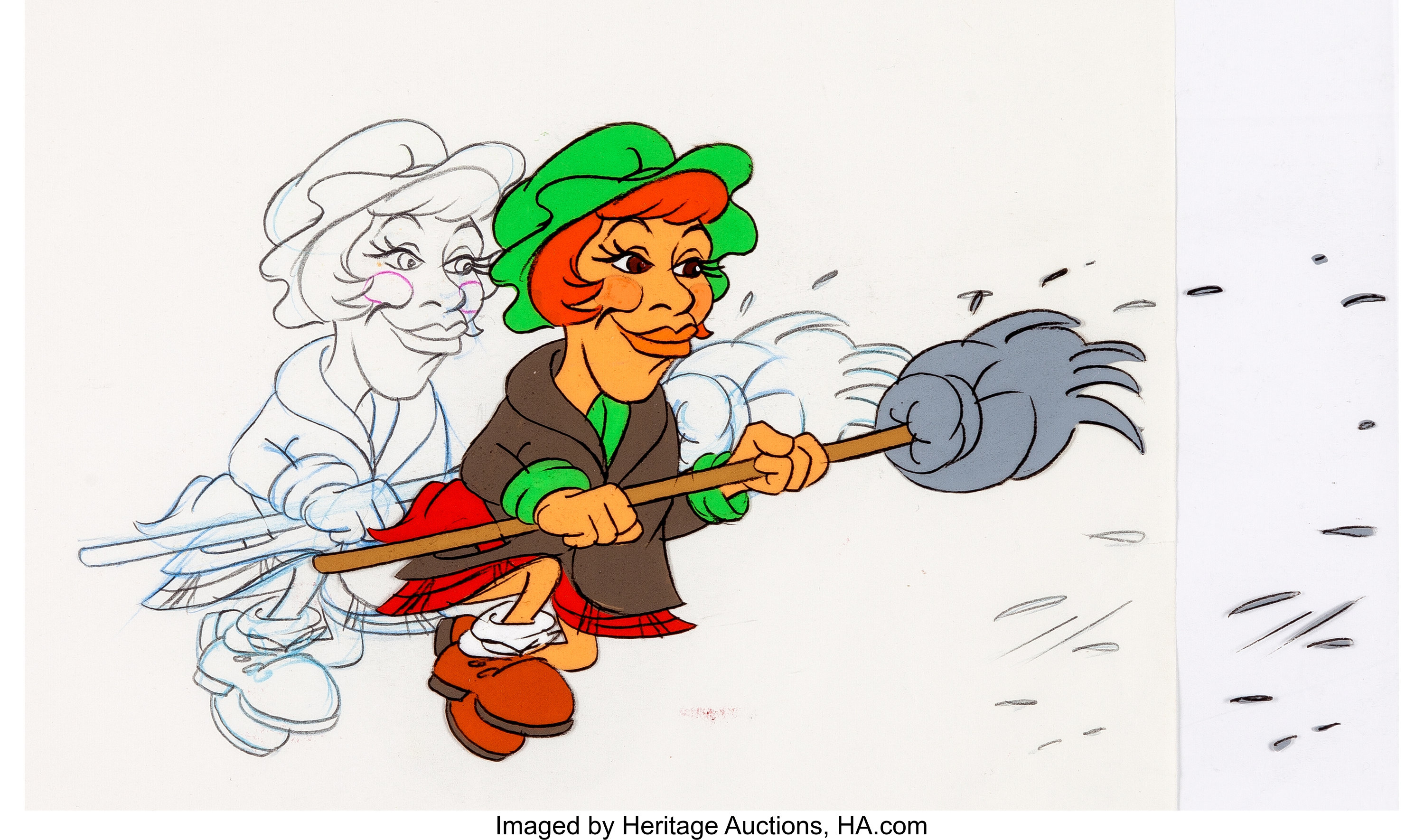 The Carol Burnett Show Cleaning Lady Production Cel and Drawing.
