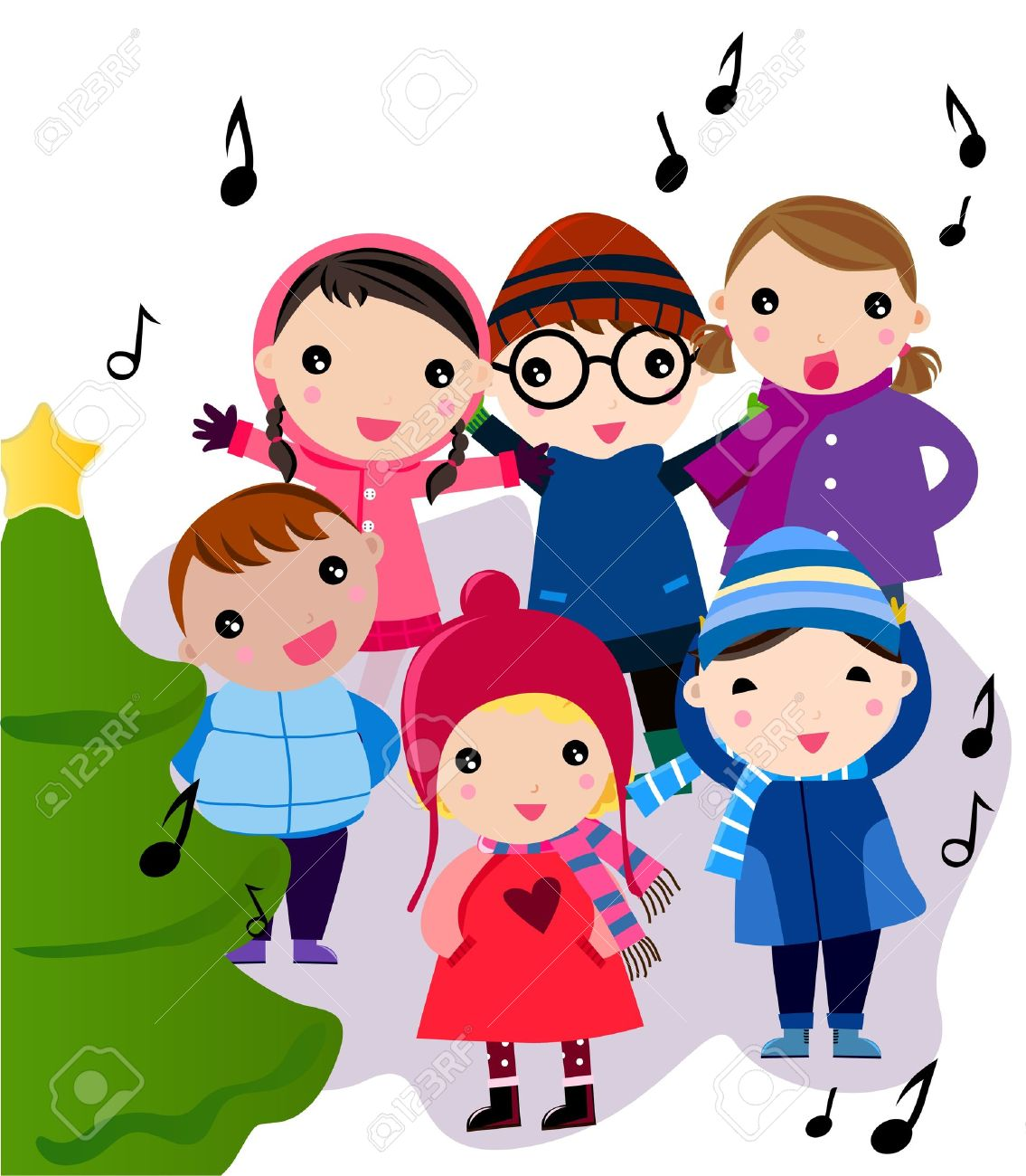 Christmas carol singers clipart.