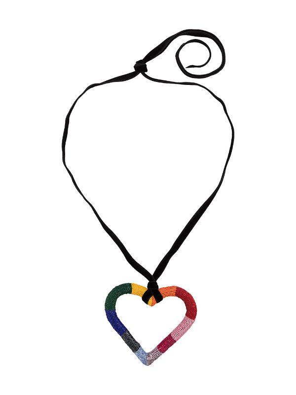 Carolina Herrera Beaded Heart Necklace.