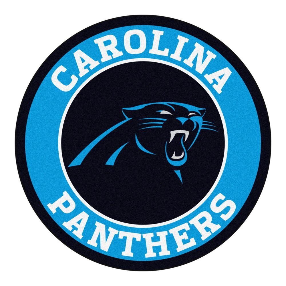 FANMATS NFL Carolina Panthers Blue 2 ft. x 2 ft. Round Area Rug.