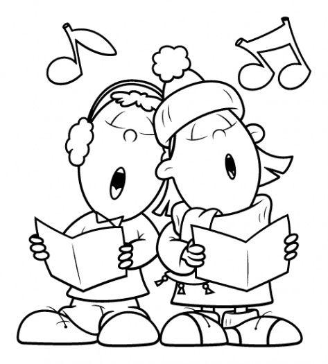 Christmas carols clipart black and white free.