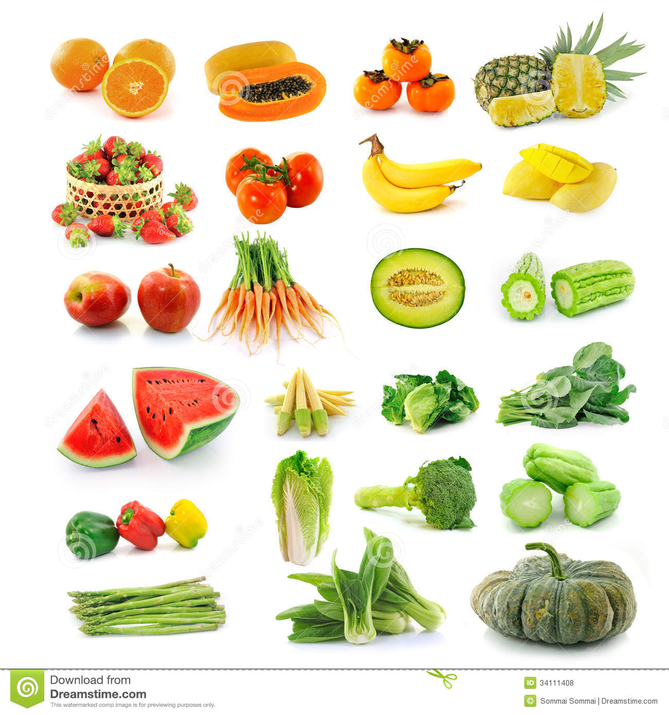 Fruits Vegetables With Beta Carotene. Royalty Free Stock Photos.