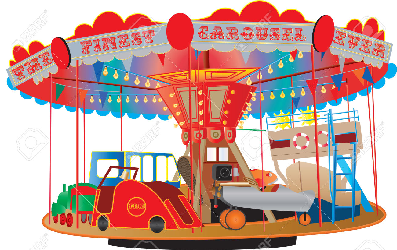 A Vintage Fairground Roundabout Or Carousel With A Fire Engine.