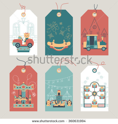 Set Rides Children Carousel Electric Cars Stock Vector 350903825.