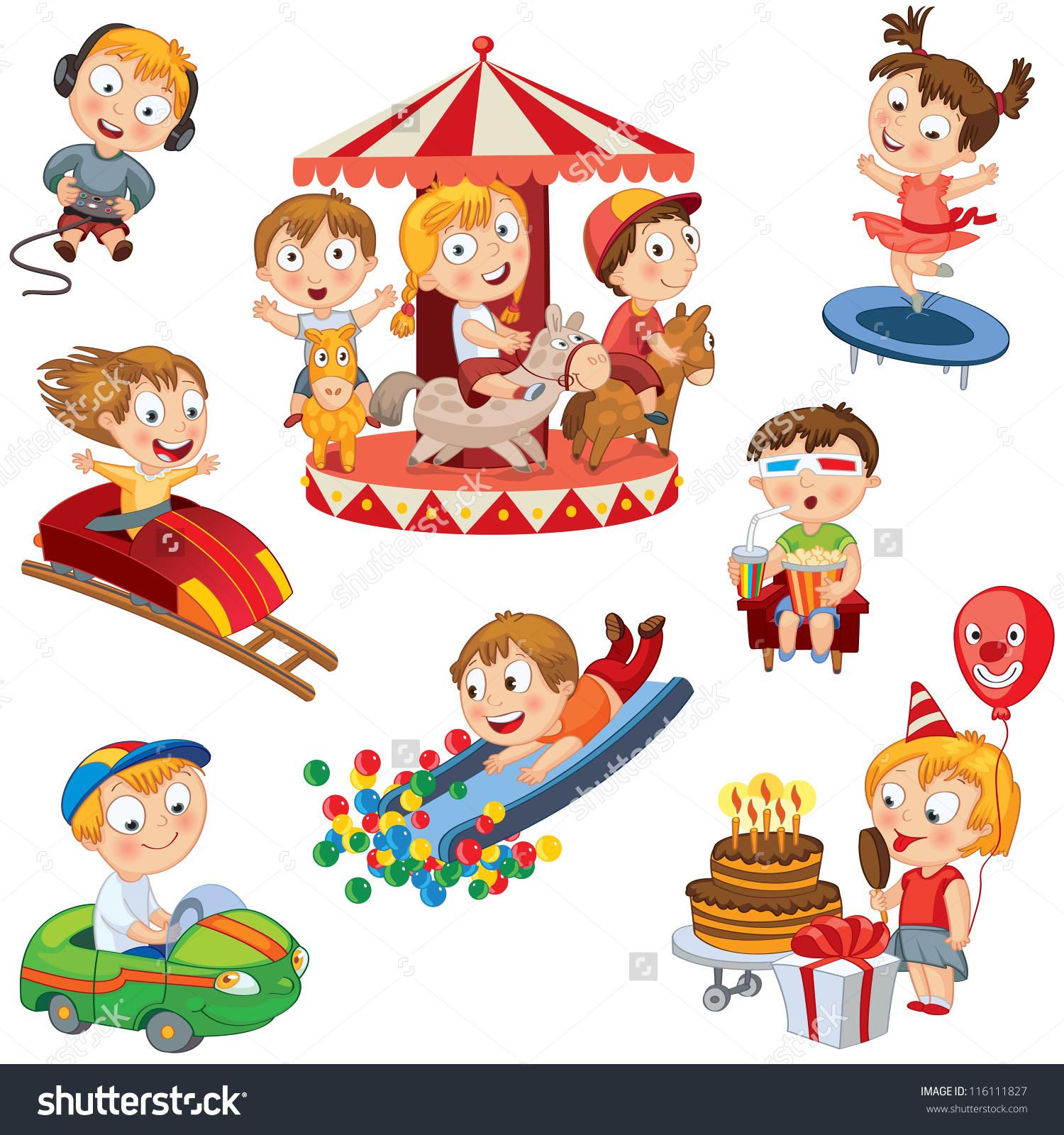 Amusement Park Set Children Ride On Stock Vector 116111827.