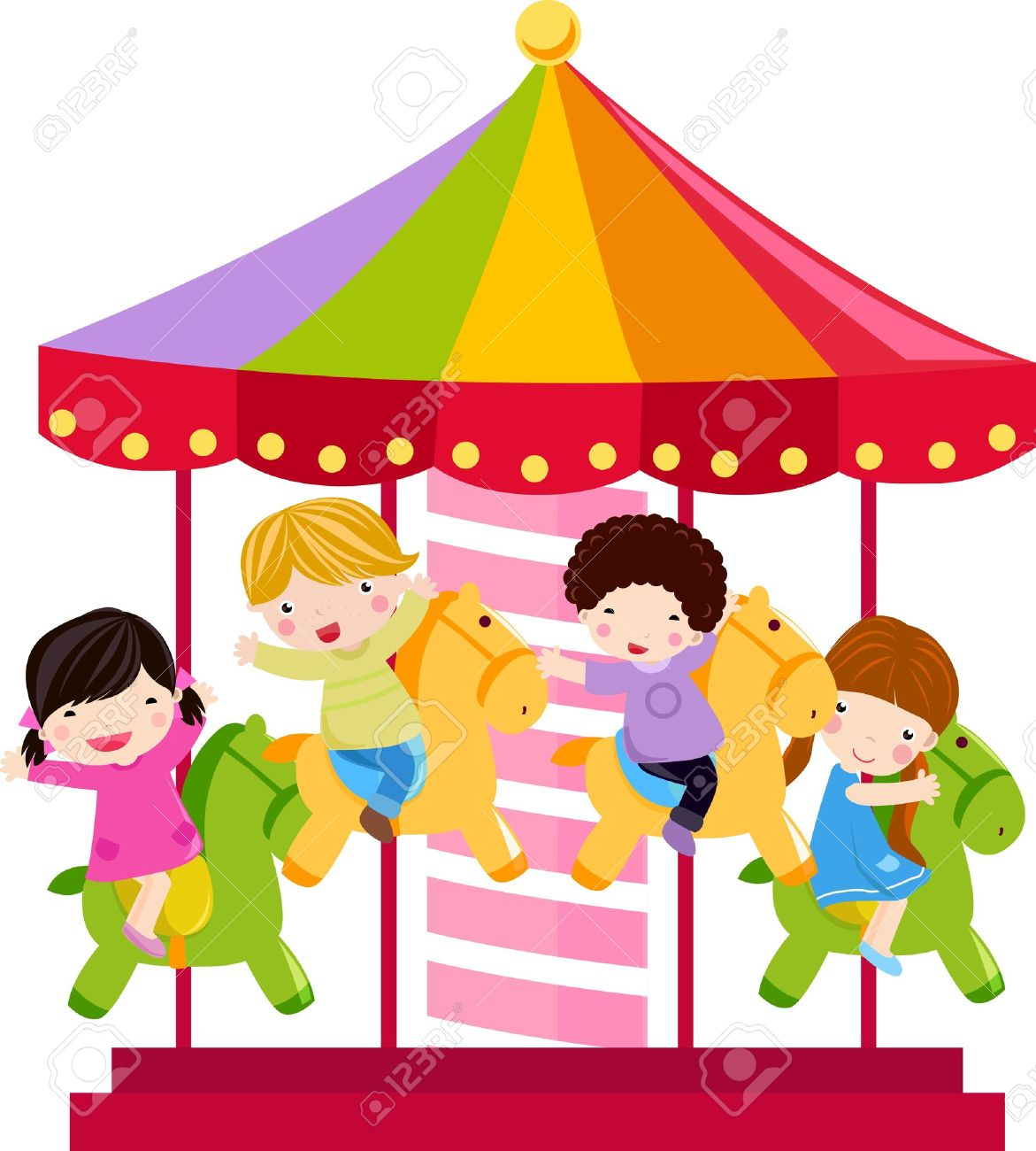 Carousel and children.