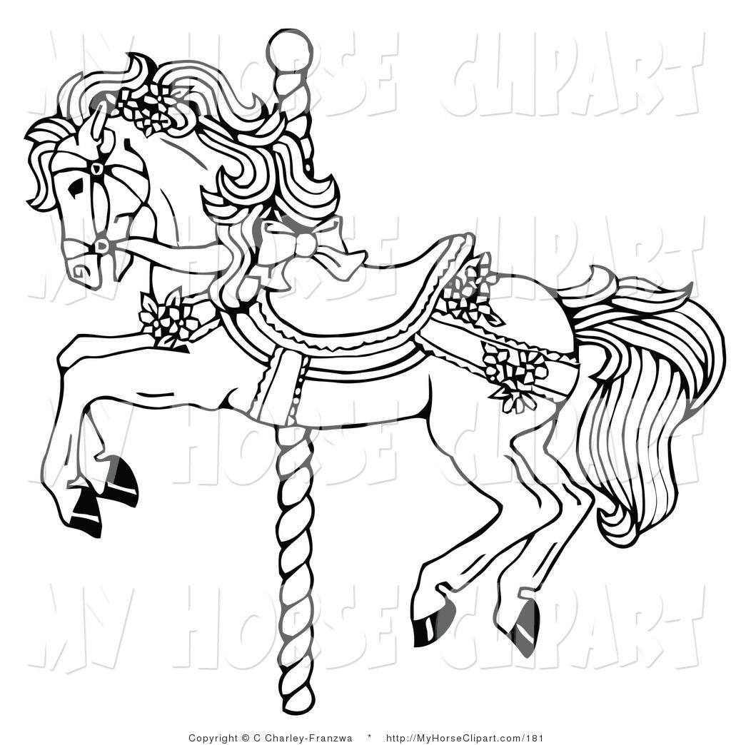 Clip Art of a Black and White Carousel Horse Decorated in.