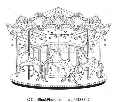 Carousel merry go round coloring book Vector.