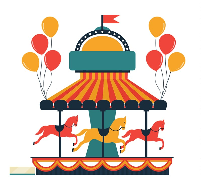 Yellow, red, and black carousel illustration, Flying Horse.
