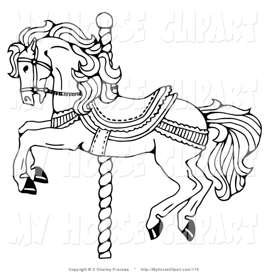 Clip Art of a Carousel Horse on a Spiraling Pole on White by C.