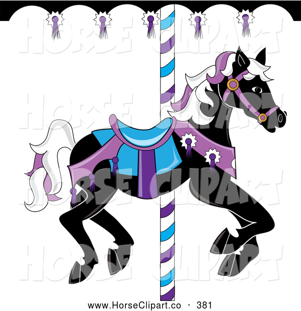 Clip Art of a Black Carousel Horse with White and Purple Hair on.