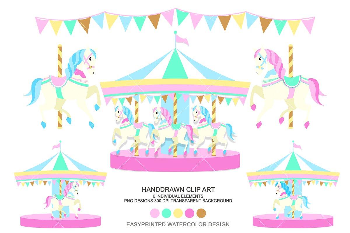 Carousel Horse Carnival Clip Art.
