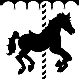 Caraousel Horse Clipart Image: Silhouette of a carousel horse.