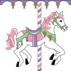 Carousel Horse Clipart Image: Pink carousel horse in silhouette.