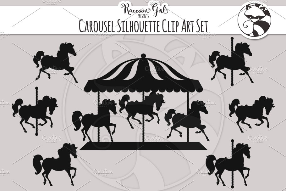 Carousel Silhouette Clip Art Set.