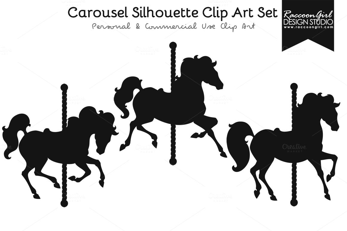 CAROUSEL HORSES SILHOUETTE.