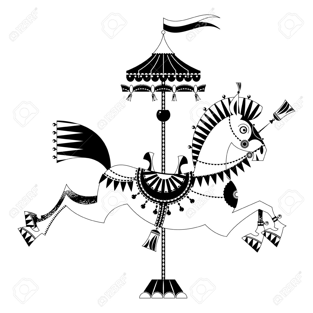 Vintage Carousel Horse. Black And White. Royalty Free Cliparts.
