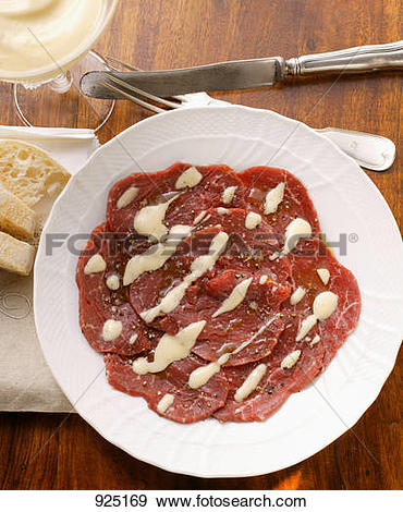 Stock Photograph of Beef carpaccio with mayonnaise 925169.
