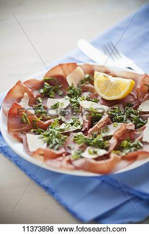Pictures of Carpaccio di Bresaola (beef ham carpaccio, Italy.