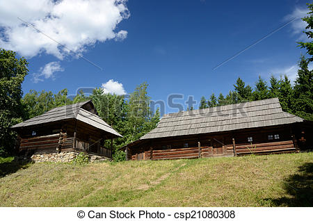 Stock Photography of Old wooden houses from Carpathian mountains.