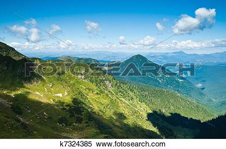 Stock Illustration of Carpathian mountains in Ukraine: landscape.